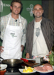 Andy Roddick and Andre Agassi