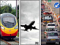 Montage showing train, aircraft taking off and motorway traffic jam