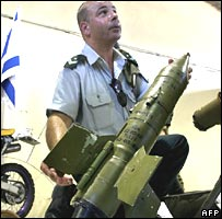 Israeli officer shows a Russian anti-tank missile allegedly seized in southern Lebanon