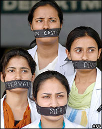 Anti-reservation protesters in India