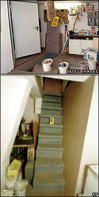 Trapdoor in garage and set of stairs