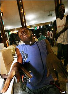 Man doing the bird flu dance in a nightclub in Abidjan, Ivory Coast