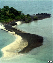 An oil-covered beach in Concepcion, Iloilo province, on 24 August