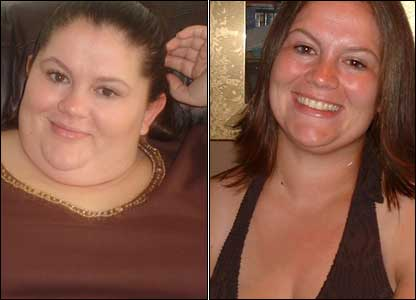 "Lisa Veal, 23, of Oxford, lost six-and-a-stone in six months: ""The first photo was taken on Christmas day 2005 and the second photo was taken two weeks ago."""