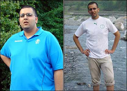 "Zahid Ul-Hassan, 25, of Glasgow, weighed more than 19 stone. ""I lost six stone by following Weight Watchers and going to the gym six times a week."""