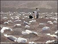 People search a mass grave in Iraq