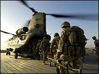 Troops boarding helicopter in Afghanistan (Picture: Corporal Ross Tilly)