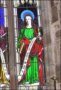 Stained glass depicting St John