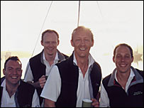 Left to right:  Jason Downer, Jamie Saunders (who was not on board), Rupert Saunders and James Meaby (courtesy of the Saunders family)