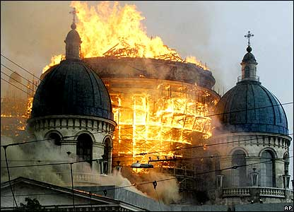 Fire in dome of The Trinity Cathedral