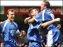 Michael Chopra and Joe Ledley celebrate Cardiff's opening goal