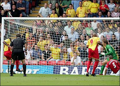 Damien Francis (left) scores Watford's equaliser against Manchester United