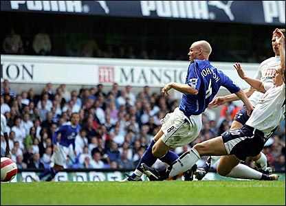 Andy Johnson scores Everton's second goal at White Hart Lane