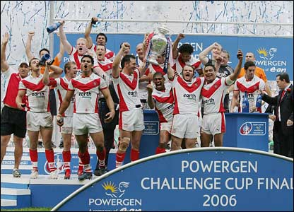 St Helens celebrate their win
