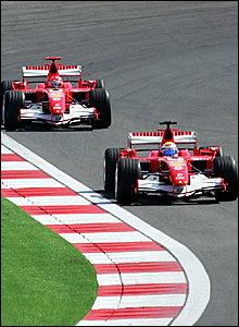 Felipe Massa leads from Michael Schumacher
