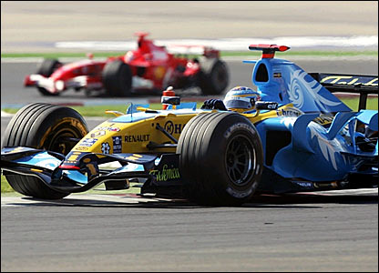 Fernando Alonso in second place ahead of Michael Schumacher