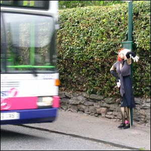 Bus stop scarecrow (picture by Duncan Kirkhope)