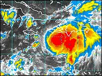 Satellite image of Ernesto clouds