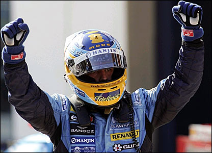 Fernando Alonso celebrates taking second place in Istanbul