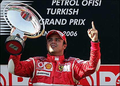 Felipe Massa celebrates winning the Turkish Grand Prix