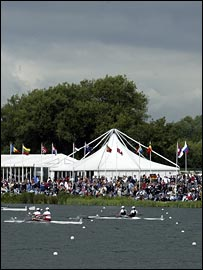 Action at Dorney Lake, with rain clouds looming