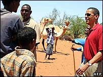 Barack Obama tours drought-stricken Wajir, in north-eastern Kenya