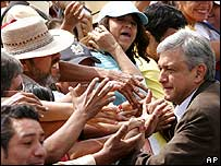 Supporters mob Andres Manuel Lopez Obrador on 27 August