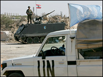 Lebanese soldier behind a UN vehicle in southern Lebanese town of Karkila