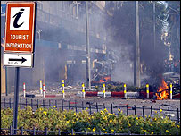 A smoke-covered street in Antalya following the explosion on 28 August 2006