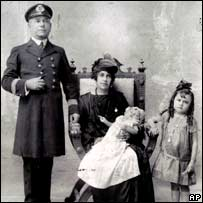 Maria Esther de Capovilla, who held the title of world's oldest woman, with her husband and two daughters Enma and Irma in an undated photo