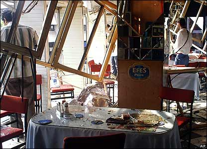 Restaurant damaged by the blast in Antalya
