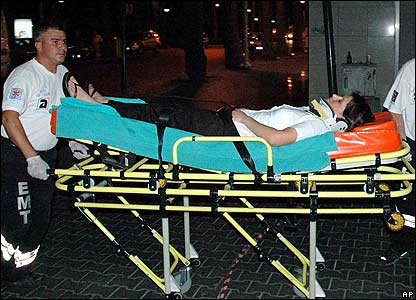 Injured woman carried on a stretcher following the attacks in Marmaris