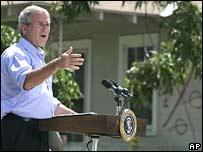 US President George W Bush gestures during a speech in Biloxi, Mississippi