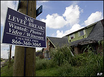 Sign outside a hurricane-damaged house in New Orleans