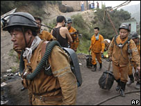 Miners at Linjiazhuang Coal Mine in north China, where a blast in July left 20 dead