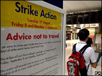 Poster at Waterloo station informing people about the SWT strike