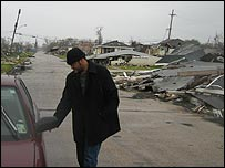 Darryl Barthe in the Lower Ninth Ward area of New Orleans