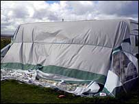 Damage caused to a caravan awning at the park
