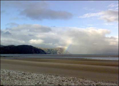 An early morning rainbow, view from Westshore beach in Llandudno, sent by Naseem Khan of Conwy