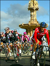 Action from the opening stage of the Tour of Britain