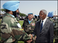 Kofi Annan greets a Unifil officer at Naqoura, Lebanon