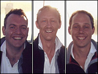The three men who died - Jason Downer, Rupert Saunders and James Meaby