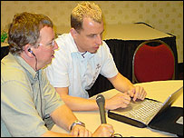 Chris A'Court with Johnny Long, a professional hacker and full-time researcher for Computer Sciences Corporation in the US