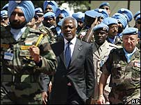 Kofi Annan with UN troops at Naquora, southern Lebanon