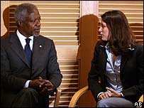 Kofi Annan meets Karnit Goldwasser, wife of captured soldier Ehud Goldwasser