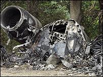 Wreckage from a plane crash in Lexington, Kentucky