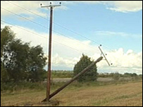 The damaged power lines
