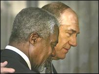 Kofi Annan y Ehud Olmert.