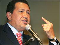 Venezuelan President Hugo Chavez gives speech in Kuala Lumpur, Malaysia on 29 August