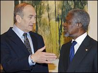 Ehud Olmert and Kofi Annan